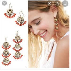 Stella & Dot- coral cay earrings